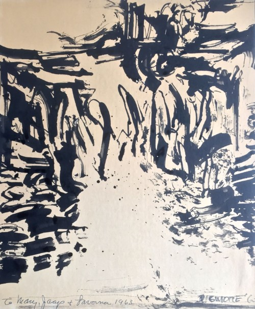 Edward Dugmore (1915 - 1996) Mexican Landscape  Ink on paper Signed and dated '63 38.5 x 31.3cm Purchased form Bonhams October 2018. Provenance the artists friend Mrs Cullen