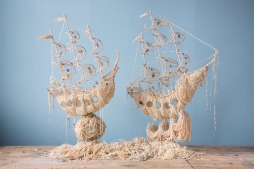 Galleons Dimension: 90 x 145 x 45cm  (35 x 57 x 18 inches) (for each galleon) £34,500.00 plus vat Medium: Pearl necklaces and brooches. £36,500.00 per galleon These two galleons have sold – however I have another galleon almost finished at the studio.