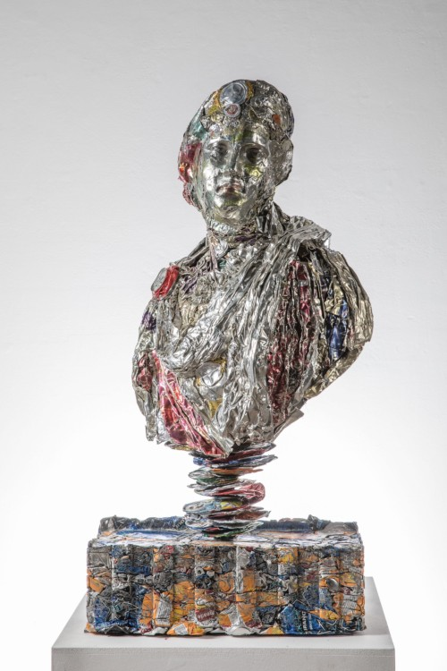 Aphrodite   Dimensions: 103 x 50 x 25cm Medium: Compressed beer cans  £12,600.00