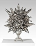 3. Starshine  [ bouquet made from spoons] Dimensions: 77 x 76 x 76cm Medium: Silver, nickel, and steel plated spoons £18,000.00
