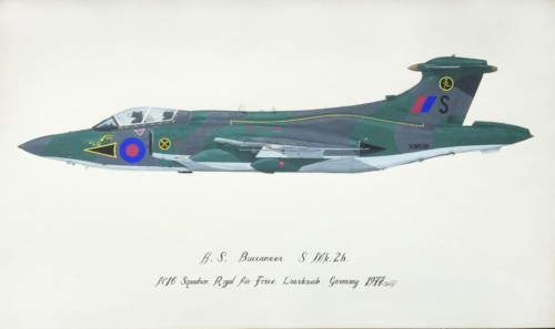 H.S.Buccaneer S Mk.2b no.16 Squadron Royal Air Force Laarbruch Germany 1977 indistinctly Signed SL Smyth '78 Gouache on paper  30 x 50cm
