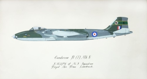 Canberra B (1) Mk 8 XM275 of No3 Squadron Royal Airforce Laarbruch Gouache on paper  30 x 50cm