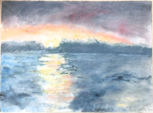 Sun Going Down Watercolour on paper 14th October 1990 56 x 76cm Exhibited at Agnews, London