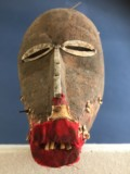 pa90 Dan MAsk - Ivory Coast Carved wood with red felt, tin and animal hair 27 x 13 x 11cm £250