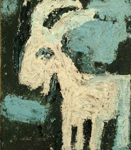 The White Goat Paint on sackcloth. circa 1965. 87 x 74cm Private collection.